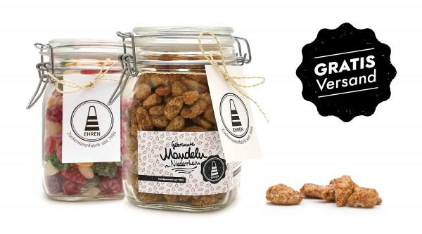 Gebrannte Mandeln im Glas, Fruchtbonbons im Glas, Geschenkidee, Geschenkset